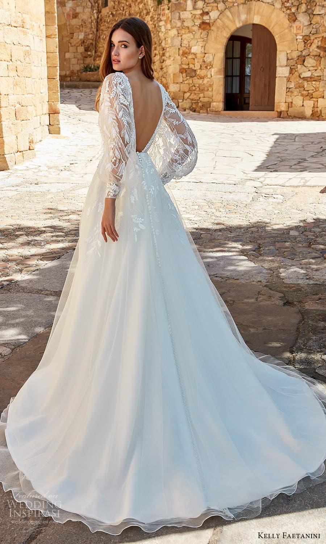 kelly faetanini spring 2022 campaign bridal sheer balloon bishop sleeve plunging v necklnie fully embellished lace a line ball gown wedding dress chapel train v back (11) bv