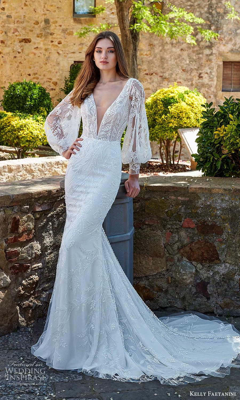 kelly faetanini spring 2022 campaign bridal sheer bishop sleeve plunging v neckline fully embellished lace sheath wedding dress chapel train (17) mv