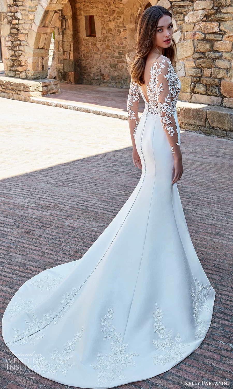 kelly faetanini spring 2022 campaign bridal sheer long sleeve plunging v neckline embellished bodice clean skirt sheath wedding dress chapel train (4) bv