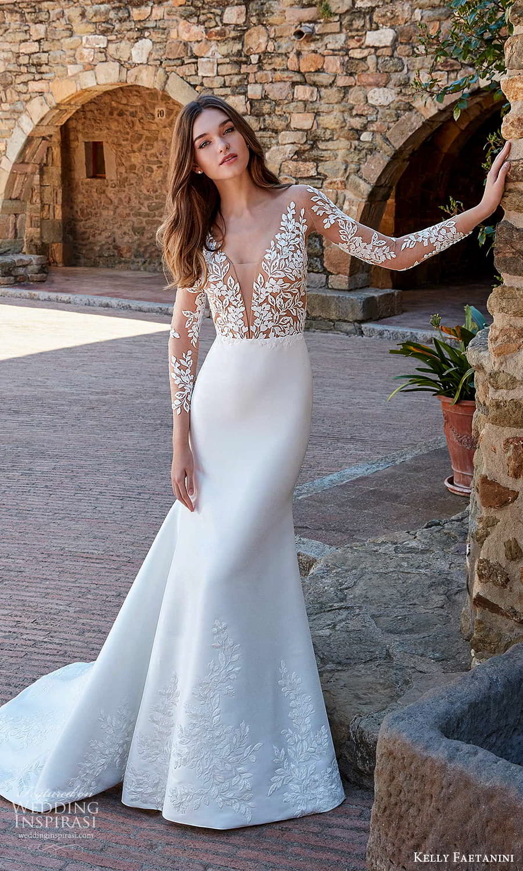 kelly faetanini spring 2022 campaign bridal sheer long sleeve plunging v neckline embellished bodice clean skirt sheath wedding dress chapel train (4) mv