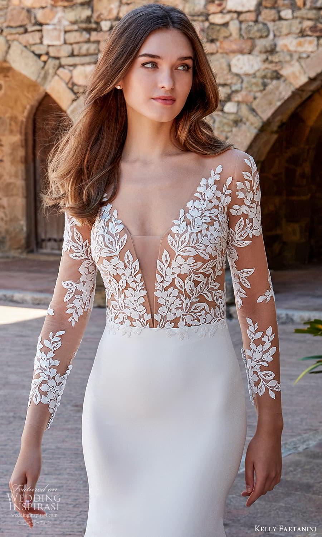 kelly faetanini spring 2022 campaign bridal sheer long sleeve plunging v neckline embellished bodice clean skirt sheath wedding dress chapel train (4) zv