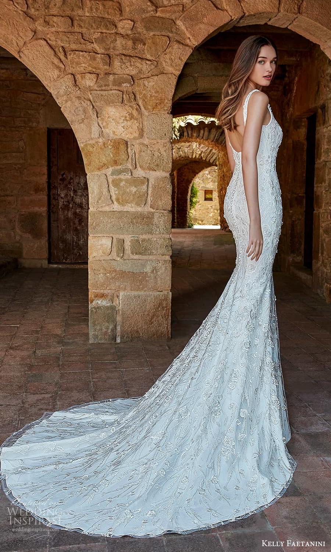 kelly faetanini spring 2022 campaign bridal sleeveless straps square neckline fully embellished lace sheath wedding dress chapel train (6) bv