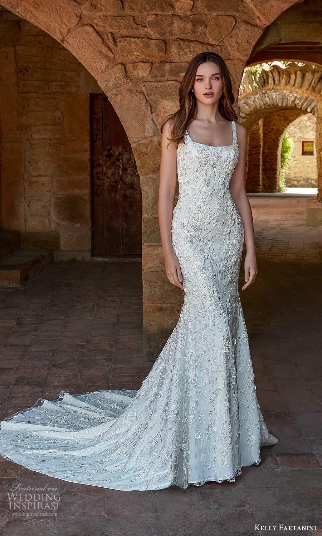 kelly faetanini spring 2022 campaign bridal sleeveless straps square neckline fully embellished lace sheath wedding dress chapel train (6) mv