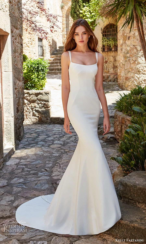 kelly faetanini spring 2022 campaign bridal sleeveless straps square necklnie clean minimalist sheath wedding dress chapel train (18) mv
