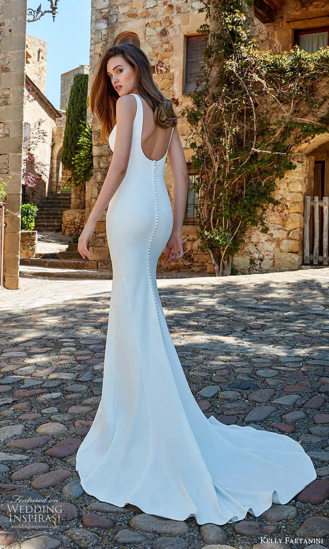 kelly faetanini spring 2022 campaign bridal sleeveless straps square necklnie clean minimalist sheath wedding dress chapel train scoop back (18) bv