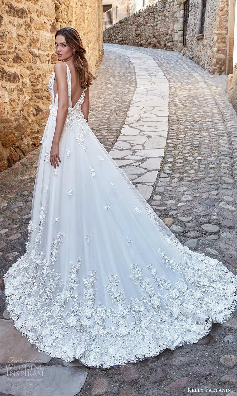 kelly faetanini spring 2022 campaign bridal sleeveless straps v necklnie fully embellished a line ball gown wedding dress chapel train (8) bv