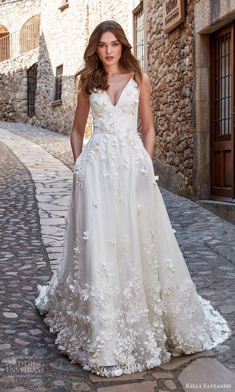 kelly faetanini spring 2022 campaign bridal sleeveless straps v necklnie fully embellished a line ball gown wedding dress chapel train (8) mv