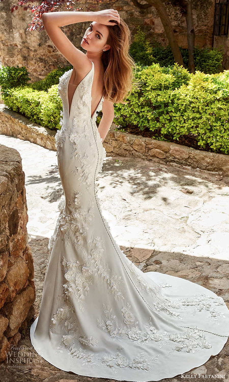 kelly faetanini spring 2022 campaign bridal sleeveless straps v necklnie fully embellished sheath wedding dress chapel train (7) bv