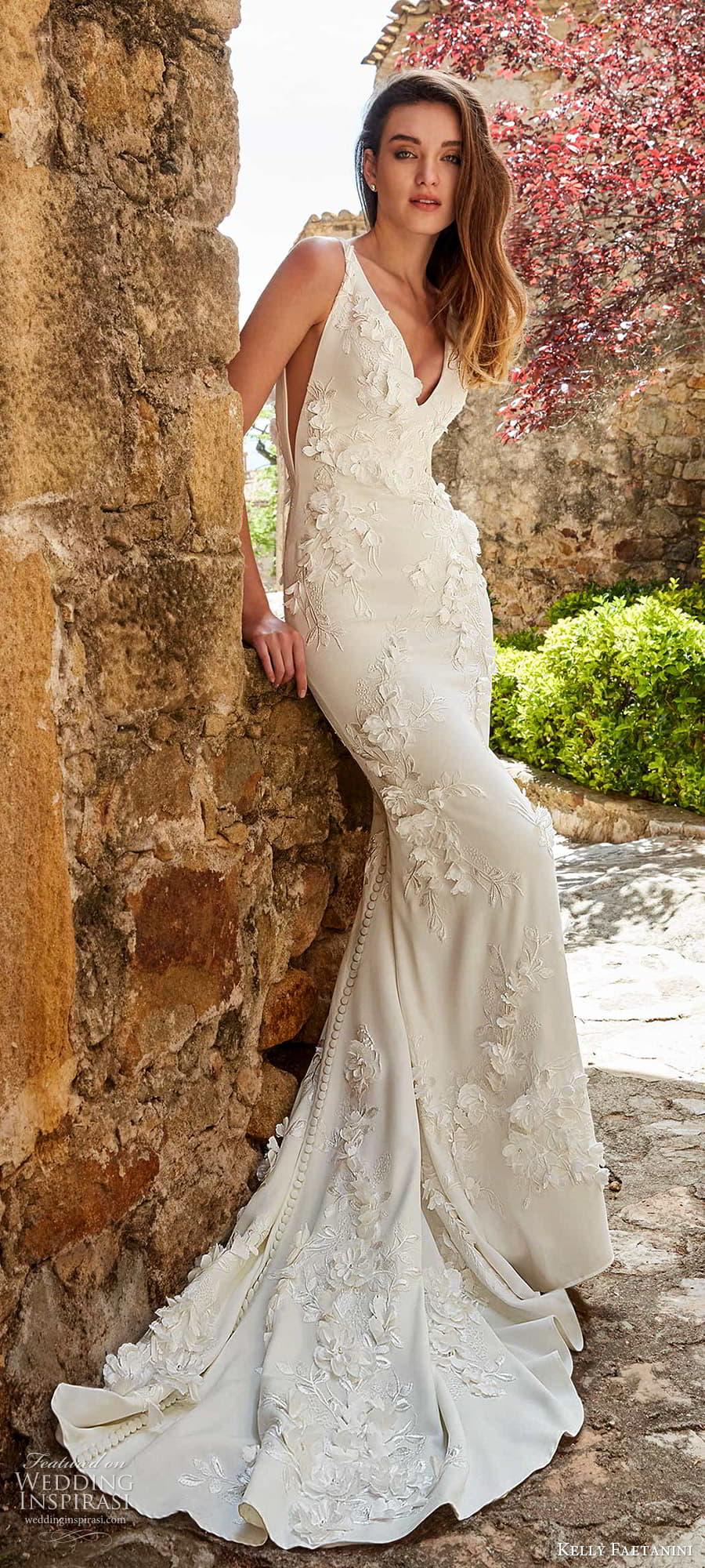 kelly faetanini spring 2022 campaign bridal sleeveless straps v necklnie fully embellished sheath wedding dress chapel train (7) lv