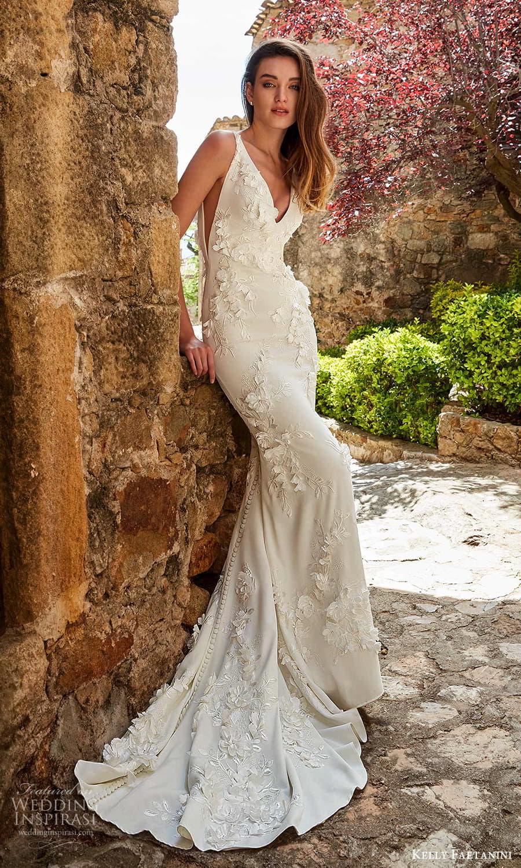 kelly faetanini spring 2022 campaign bridal sleeveless straps v necklnie fully embellished sheath wedding dress chapel train (7) mv