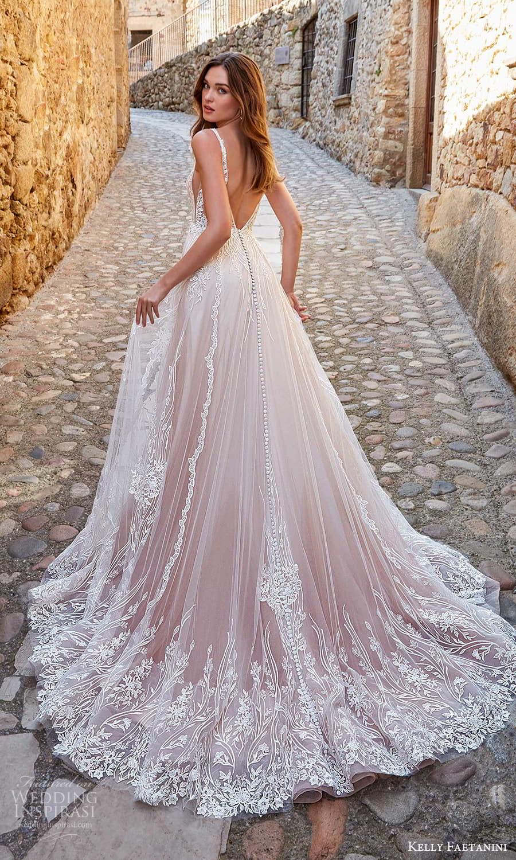 kelly faetanini spring 2022 campaign bridal sleeveless straps v nekclnie fully embellished a line ball gown wedding dress blush chapel train (9) bv