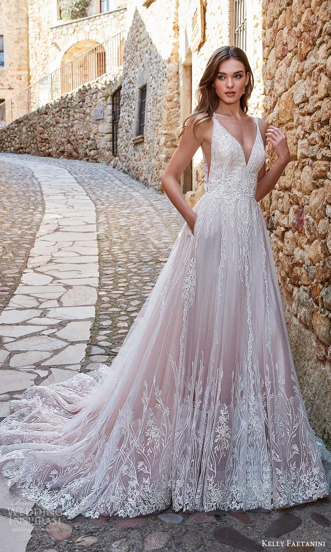 kelly faetanini spring 2022 campaign bridal sleeveless straps v nekclnie fully embellished a line ball gown wedding dress blush chapel train (9) mv