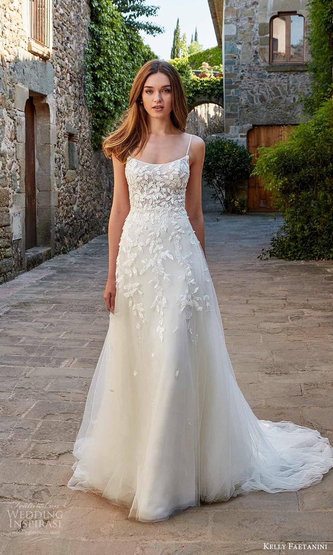 kelly faetanini spring 2022 campaign bridal sleeveless thin straps semi scoop neckline embellished bodice a line ball gown wedding dress chapel train (10) mv