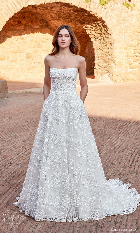 kelly faetanini spring 2022 campaign bridal strapless semi sweetheart neckline fully embellished a line ball gown wedding dress chapel train (20) mv