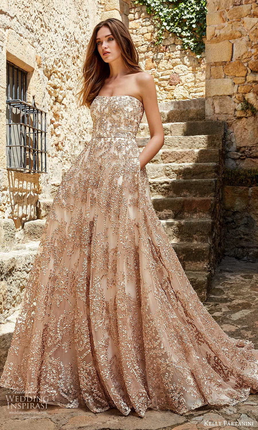 kelly faetanini spring 2022 campaign bridal strapless straight across neckline fully embellished gold a line ball gown wedding dress pocket chapel train (2) mv