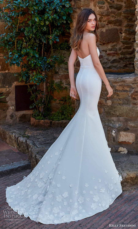 kelly faetanini spring 2022 campaign bridal strapless sweetheart clean modern embellished skirt fit flare mermaid wedding dress chapel train (14) bv