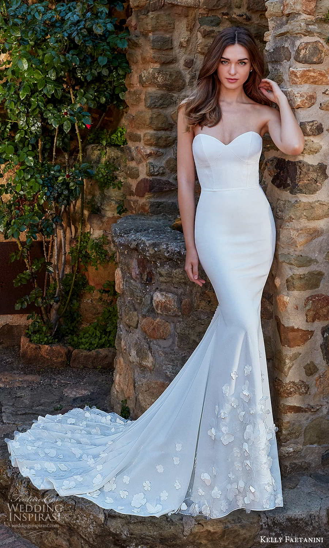 kelly faetanini spring 2022 campaign bridal strapless sweetheart clean modern embellished skirt fit flare mermaid wedding dress chapel train (14) mv