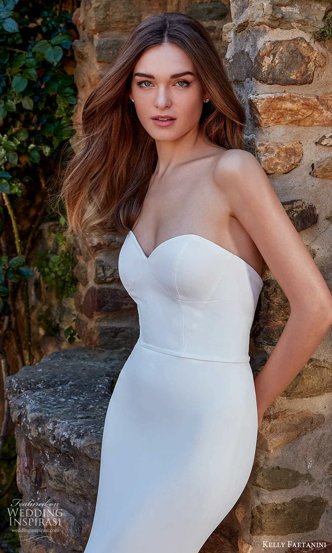 kelly faetanini spring 2022 campaign bridal strapless sweetheart clean modern embellished skirt fit flare mermaid wedding dress chapel train (14) zv