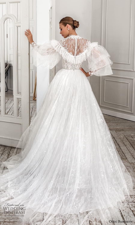 oleg baburow 2022 bridal balloon ruffle sleeves high neckline embellished lace bodice a line ball gown wedding dress chapel train (5) bv
