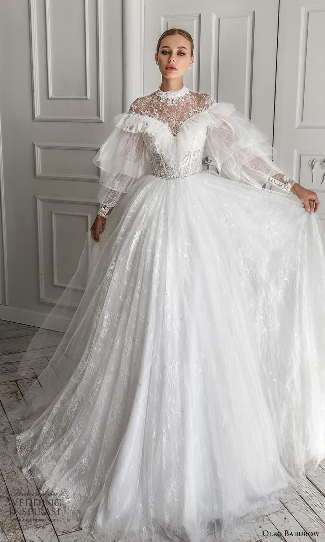 oleg baburow 2022 bridal balloon ruffle sleeves high neckline embellished lace bodice a line ball gown wedding dress chapel train (5) mv