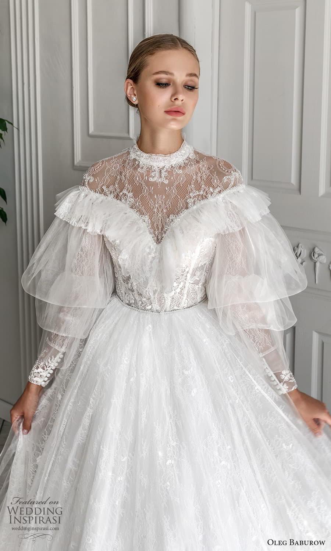 oleg baburow 2022 bridal balloon ruffle sleeves high neckline embellished lace bodice a line ball gown wedding dress chapel train (5) zv