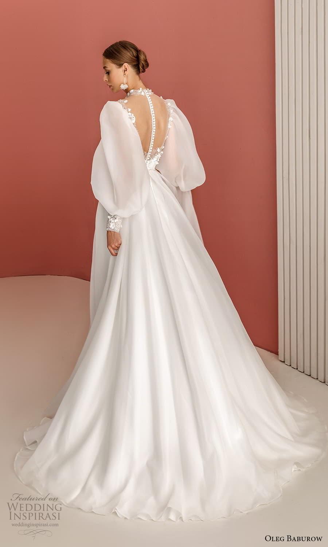 oleg baburow 2022 bridal long bishop sleeves high neckline sweetheart neckline clean minimalist a line wedding dress chapel train (6) bv