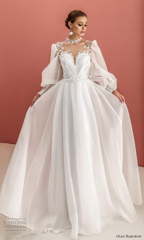 oleg baburow 2022 bridal long bishop sleeves high neckline sweetheart neckline clean minimalist a line wedding dress chapel train (6) mv