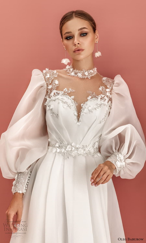 oleg baburow 2022 bridal long bishop sleeves high neckline sweetheart neckline clean minimalist a line wedding dress chapel train (6) zv