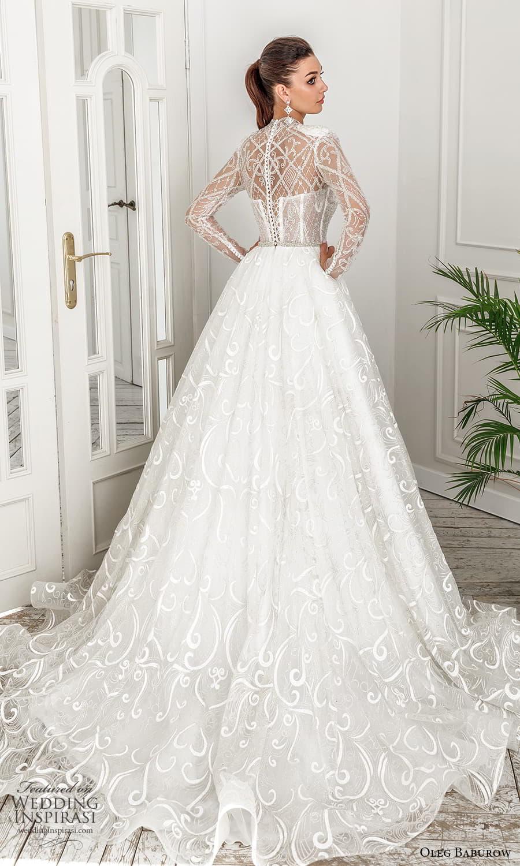 oleg baburow 2022 bridal sheer long puff sleeve illusion high neckline sweetheart neckline heavily embellished bodice a line ball gown wedding dress chapel train (1) bv