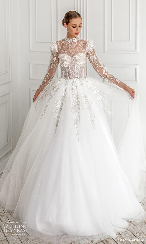 oleg baburow 2022 bridal sheer long puff sleeve illusion high neckline sweetheart neckline heavily embellished bodice a line ball gown wedding dress chapel train (1) mv