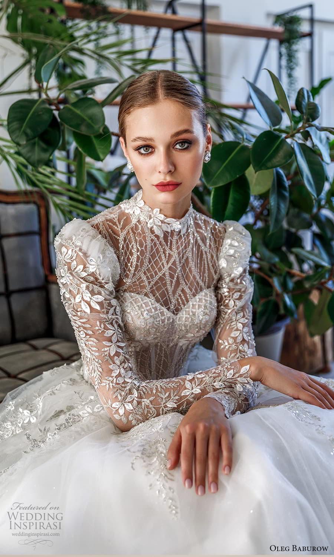 oleg baburow 2022 bridal sheer long puff sleeve illusion high neckline sweetheart neckline heavily embellished bodice a line ball gown wedding dress chapel train (1) zv