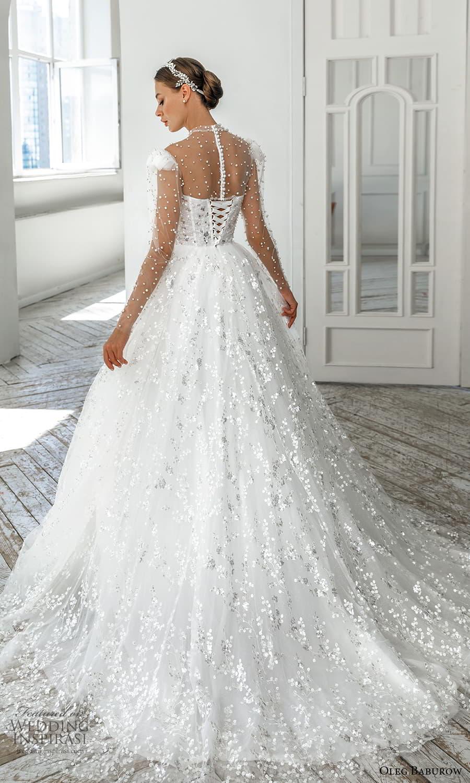 oleg baburow 2022 bridal sheer long puff sleeve illusion high neckline sweetheart neckline heavily embellished bodice a line ball gown wedding dress chapel train (2) bv