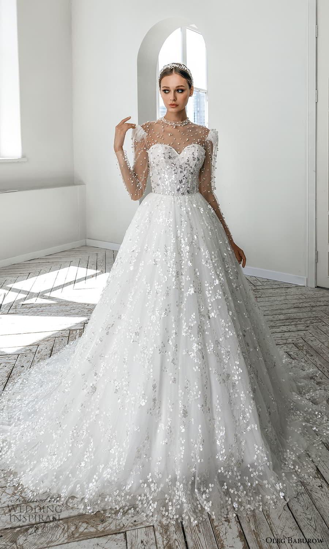 oleg baburow 2022 bridal sheer long puff sleeve illusion high neckline sweetheart neckline heavily embellished bodice a line ball gown wedding dress chapel train (2) mv