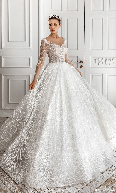 oleg baburow 2022 bridal sheer long sleeve illusion jewel neck sweetheart neckline fully embellished a line ball gown wedding dress chapel train (3) mv
