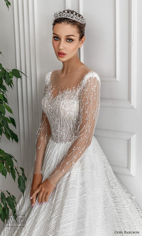 oleg baburow 2022 bridal sheer long sleeve illusion jewel neck sweetheart neckline fully embellished a line ball gown wedding dress chapel train (3) zv