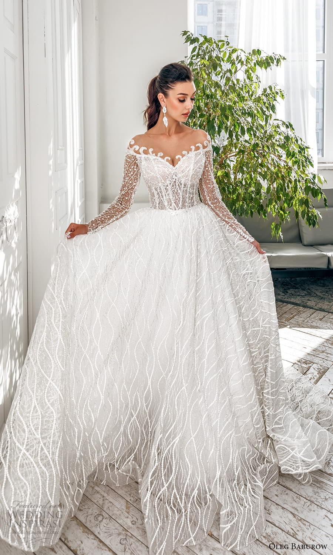 oleg baburow 2022 bridal sheer long sleeve off shoulder sweetheart neckline fully embellished a line ball gown wedding dress chapel train (7) mv