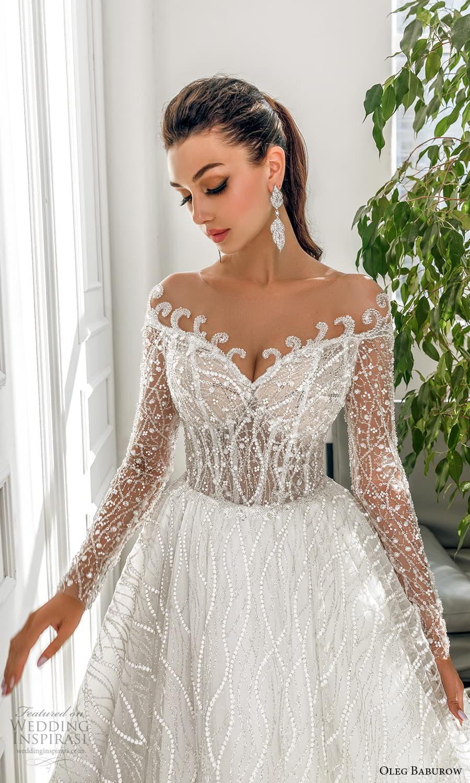 oleg baburow 2022 bridal sheer long sleeve off shoulder sweetheart neckline fully embellished a line ball gown wedding dress chapel train (7) zv