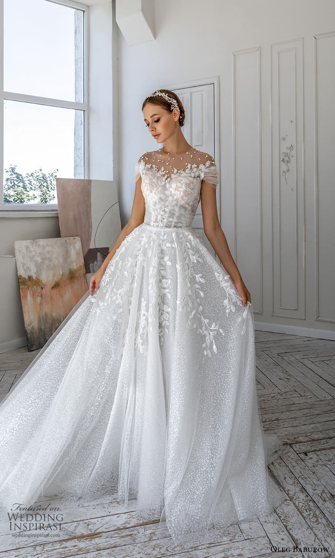 oleg baburow 2022 bridal short sleeve sheer jewel neck sweetheart neckline fully embellished a line ball gown wedding dress chapel train (4) mv