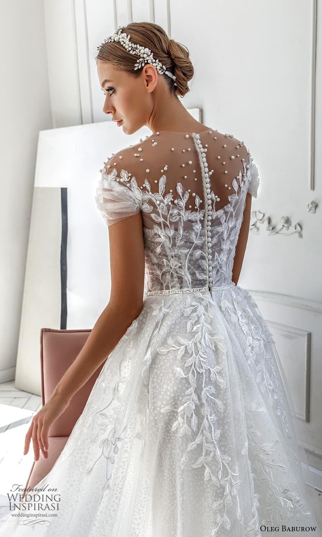 oleg baburow 2022 bridal short sleeve sheer jewel neck sweetheart neckline fully embellished a line ball gown wedding dress chapel train (4) zbv