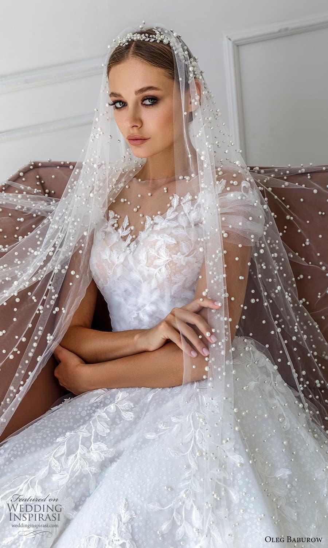 oleg baburow 2022 bridal short sleeve sheer jewel neck sweetheart neckline fully embellished a line ball gown wedding dress chapel train veil (4) zv