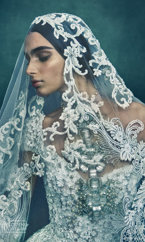 reem acra 2022 bridal cap sleeves sweetheart necklnie fully embellished a line wedding dress lace veil (6) mv