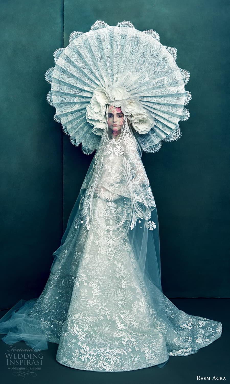 reem acra 2022 bridal cape sleeves high neckline fully embellished a line wedding dress chapel train (5) mv