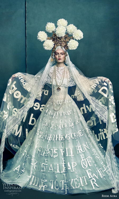 reem acra 2022 bridal flare long sleeve high neckline fully embellished a line ball gown wedding dress chapel train (2) mv