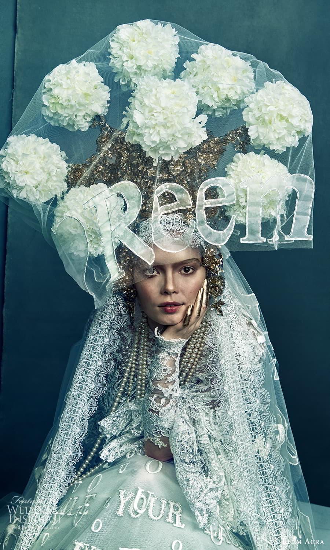 reem acra 2022 bridal flare long sleeve high neckline fully embellished a line ball gown wedding dress chapel train (2) zv