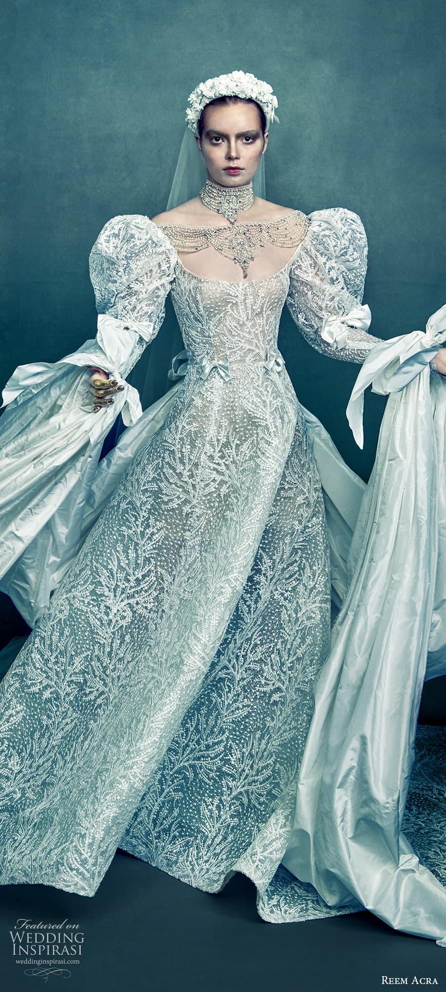 reem acra 2022 bridal long puff sleeve scoop neckline fully embellished a line ball gown wedding dress chapel train (1) lv