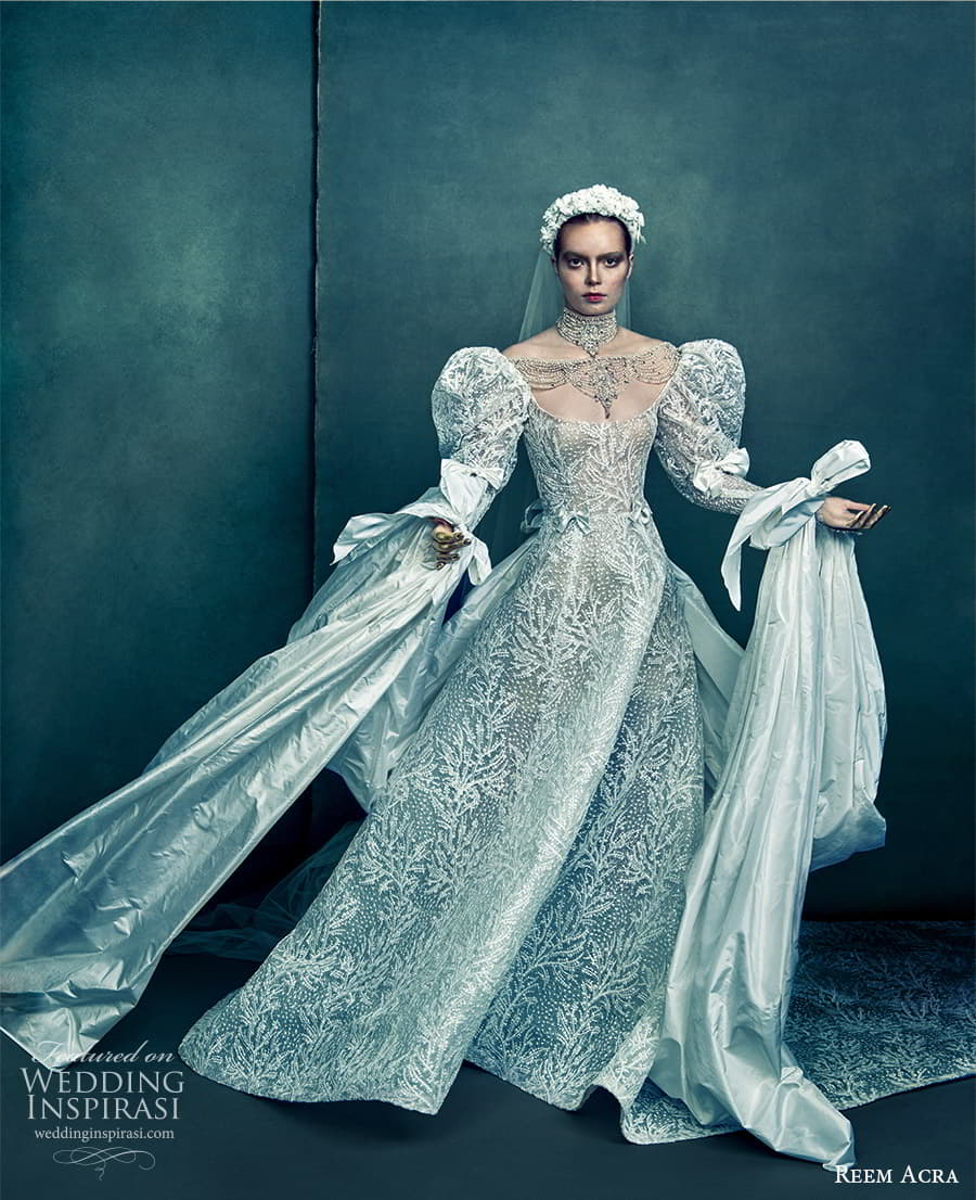 reem acra 2022 bridal long puff sleeve scoop neckline fully embellished a line ball gown wedding dress chapel train (1) mv