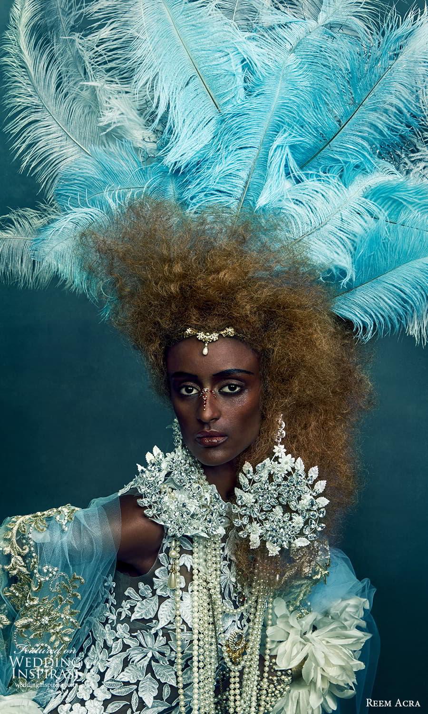 reem acra 2022 bridal sleeveless fully embellished lace sheath wedding dress blue feather (3) mv