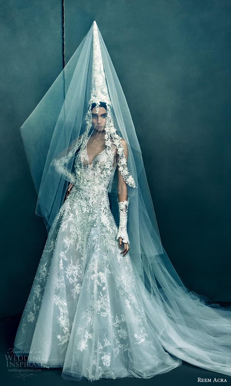 reem acra 2022 bridal sleeveless straps v neckline fully embellished lace a line wedding dress chapel train (4) mv