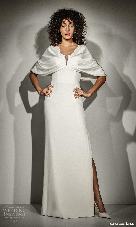 sebastien luke fall 2021 bridal cape sleeve split v neckline clean minimalist column wedding dress slit skirt (4) mv