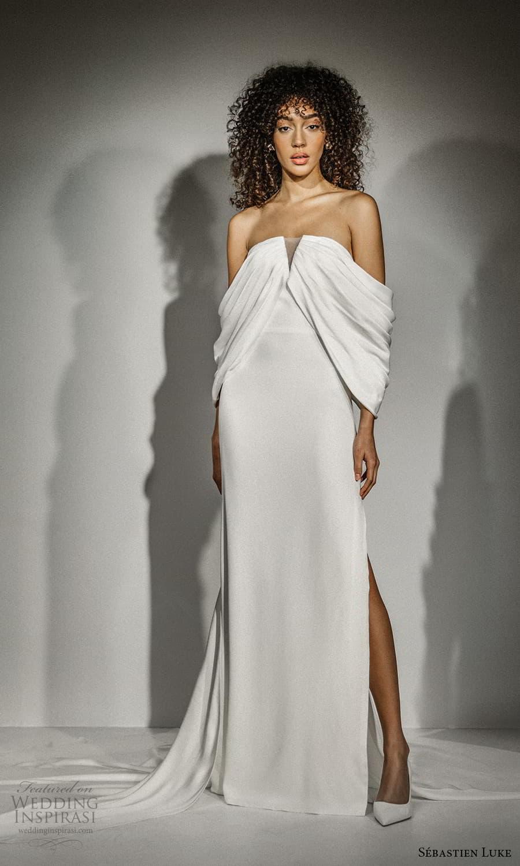 sebastien luke fall 2021 bridal off shoulder sleeves split straight across neckline clean minimalist sheath wedding dress slit skirt (5) mv